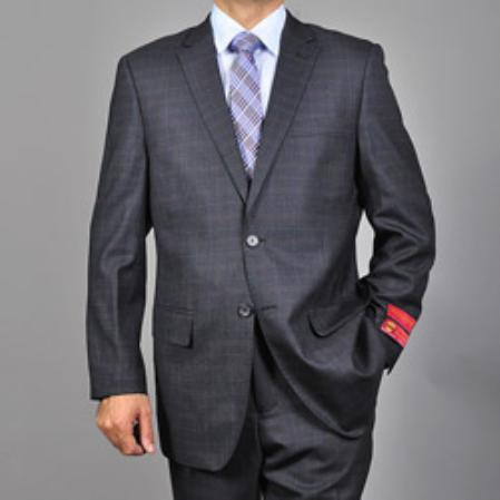 SKU#KA1539 Authentic Mantoni Brand Mens Charcoal Grey 2-button Wool Suit