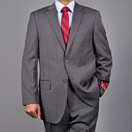 SKU#KA1548 Authentic Mantoni Brand Mens Grey 2-button Wool Suit
