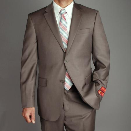 SKU#KA1485 Authentic Mantoni Brand Men's Wool 2-button Suit