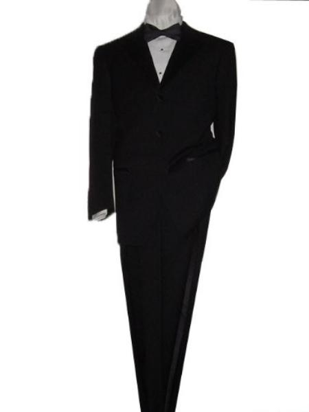SKU#WM1001 Mantoni 2 Button Men's Tuxedo Suit Solid Black