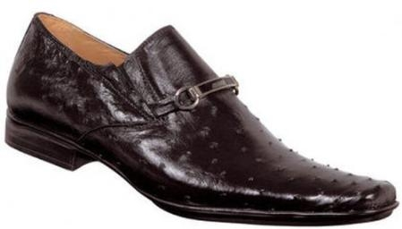 "SKU#UV699 Mauri ""Ally"" Black All-Over Genuine Ostrich Shoes With Embroidered Bracelet $570"