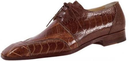 "SKU#PX5794 Mauri ""Apex"" Camel Genuine Body Alligator / Ostrich Leg Shoes $799"