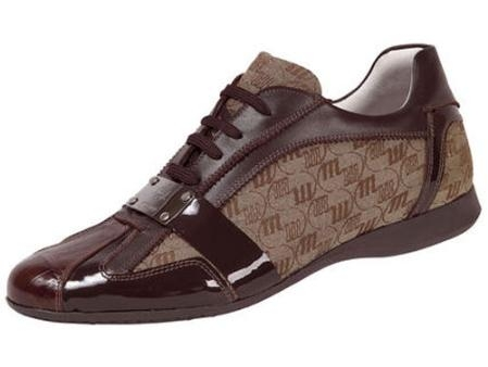 SKU#BF604 Mauri Baby Crocodile, Patent Leather, & Fabric Lace-Up Shoe Sport-Rust $415