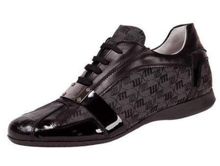 SKU#LH396 Mauri Baby Crocodile, Patent Leather, & Fabric Lace-Up Shoe Grey $415