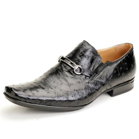 SKU#PZ3654 Mauri Black Genuine Ostrich $450