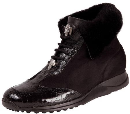 SKU#YZ8777 Mauri Black Genuine Baby Crocodile/ Ostrich Boots With Fur Lining $399