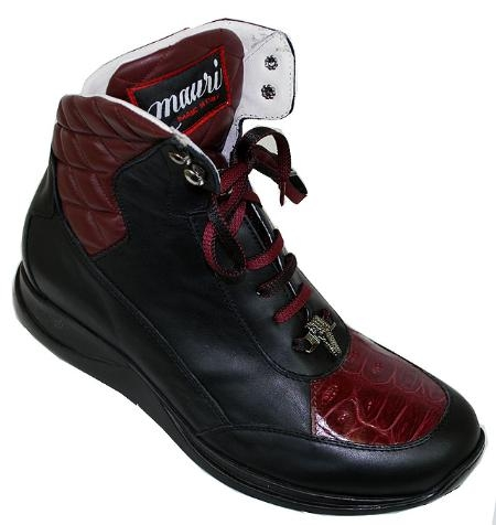 SKU#RR8742 Mauri Black / Ruby Red Alligator / Nappa Leather Boots $409