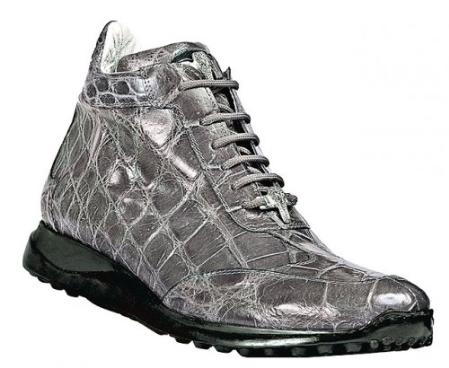 "SKU#UB2938 Mauri ""Bloom"" Medium Grey Genuine All-Over Alligator Sneakers With Silver Mauri Alligator"