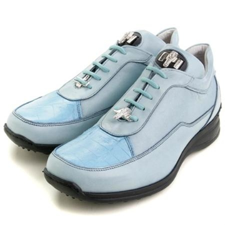SKU#US5430 Mauri Blue Genuine Ostrich & Calfskin $229