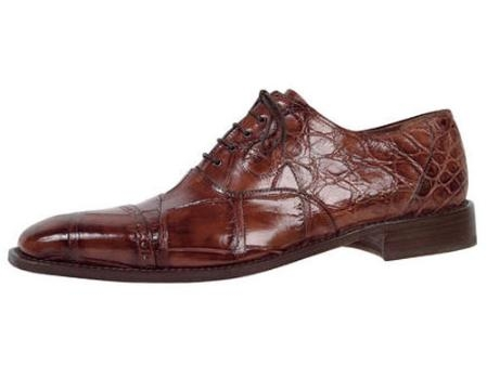 SKU#JF685 Mauri Body Alligator Lace-Up Shoe Sport-Rust $870