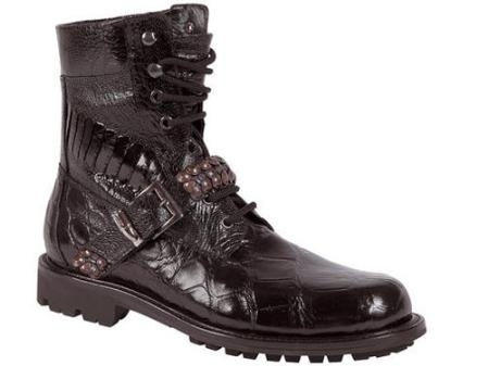 SKU#FK749 Mauri Body Alligator and Ostrich Leg Lace-Up Boot Black $1210
