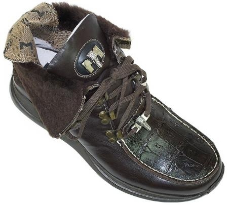 SKU#BW8831 Mauri Brown Genuine Alligator With Shearling Fur Lining Boots $499