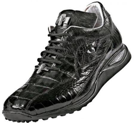 "SKU#BR1022 Mauri ""Caiman"" Black Genuine Hornback Alligator/Ostrich Sneakers $1019"