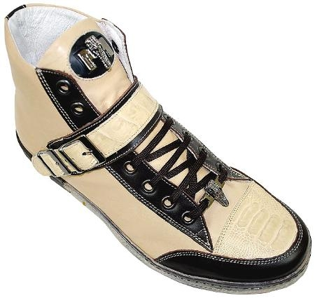 SKU#RP8898 Mauri Champagne/Brown Genuine Ostrich Leg And Nappa Leather High-Top Sneakers $299