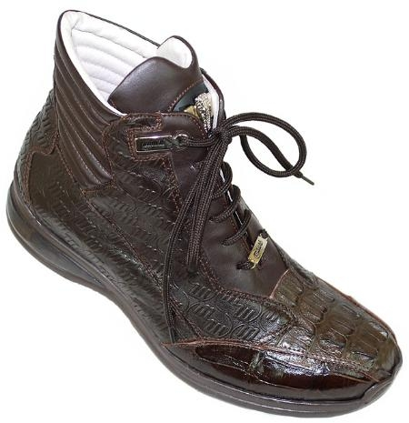 SKU#CB8721 Mauri Chocolate Brown Genuine Hornback Crocodile / Nappa Leather Boots $749