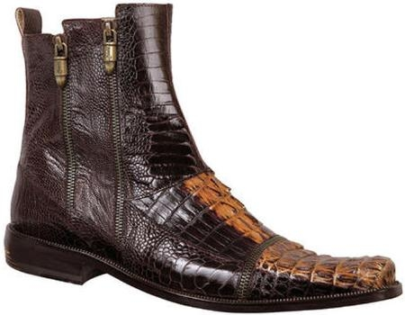 SKU#PZ2230 Mauri Dark Brown / Gold Genuine Hornback Crocodile / Ostrich Leg Leather Boots $1249