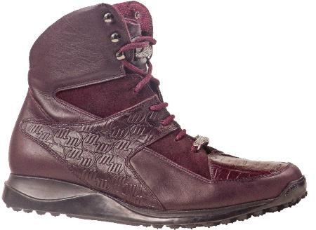 SKU#CT8722 Mauri Embossed Ruby Red Genuine Nappa Leather / Baby Crocodile / Suede Boots $549