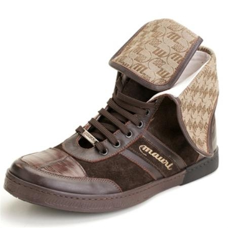 SKU#JA7643 Mauri Genuine Crocodile & Suede Brown $350