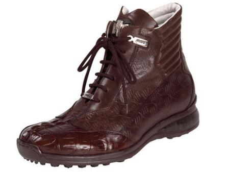SKU#XN496 Mauri Hornback, Baby Crocodile, & Embossed Nappa Lace-Up Sport Shoe Rust $570