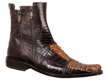 SKU#DI643 Mauri Hornback and Ostrich Leg Slip-On Boot Brown/Gold $1170