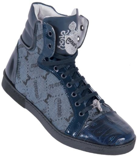 SKU#NB8876 Mauri Navy Blue Genuine Alligator And Mauri Embossed Fabric Casual Boots $499