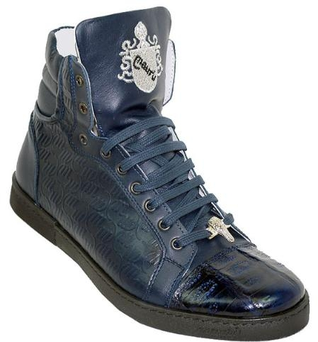 SKU#LS8876 Mauri Navy Genuine Alligator And Mauri Embossed Nappa Leather Casual Boots $399