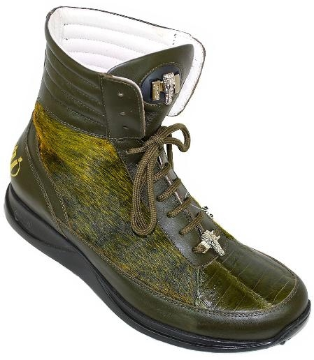 SKU#TL8911 Mauri Olive Green Genuine Alligator / Pony Hair Boots $349