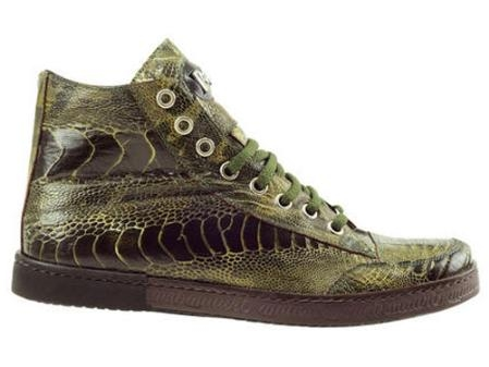 SKU#OG473 Mauri Ostrich Leg Lace-Up Casual Sport Shoe Olive $570