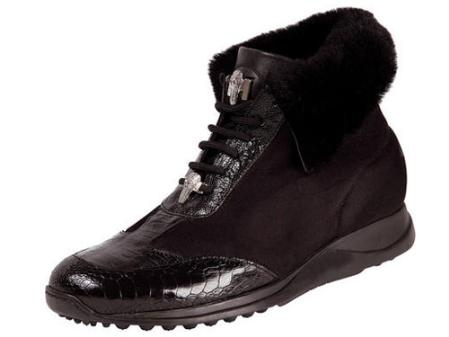 SKU#GI583 Mauri Ostrich Leg, Baby Crocodile, Nappa, & Shearling Lace-Up Sport Shoe Black $515