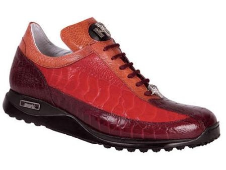 SKU#MR576 Mauri Ostrich Leg Lace-Up Sport Shoe Red $670