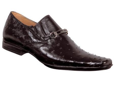 SKU#HA557 Mauri Ostrich Slip-On Shoe Black $515