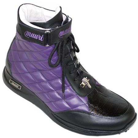 SKU#PB2853 Mauri Purple / Black Genuine Alligator / Bubble Nappa Leather Boots $449