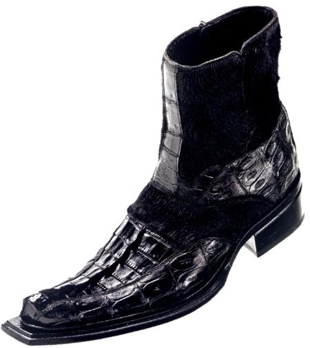 "SKU#YS42746 Mauri ""Royal"" Black Genuine Hornback Baby Crocodile / Pony Hair Boots $1449"