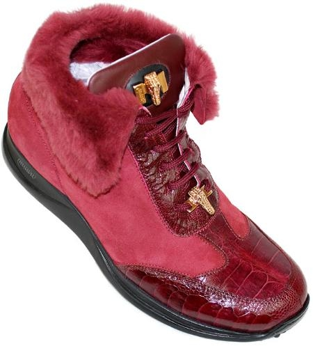 SKU#TR8777 Mauri Ruby Red Genuine Baby Crocodile / Ostrich Boots With Fur Lining $399