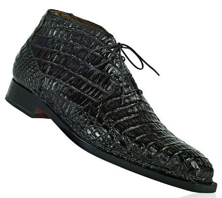 "SKU#UZ1167 Mauri ""Shakespeare"" Black Genuine All-Over Hornback Crocodile Boots $1849"