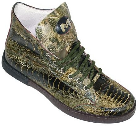 "SKU#MG8888 Mauri ""Unveiled""  Military Green All Over Genuine Ostrich Boots $649"
