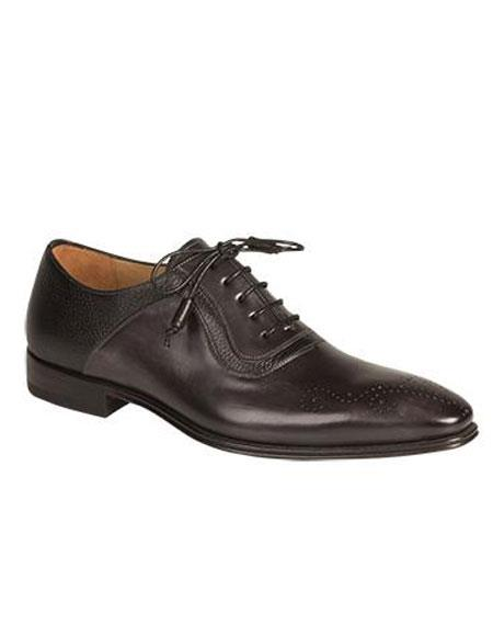 Buy AP505 Mens Graphite Medallion Toe Calfskin Contrast Deerskin Lace Leather Shoes Authentic Mezlan Brand