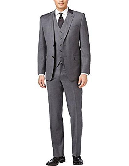 Groomsmen Suits Alberto Nardoni Suit Slim Skinny European fit Vested 3 Pieces Medium Gray  Side Vented Suit