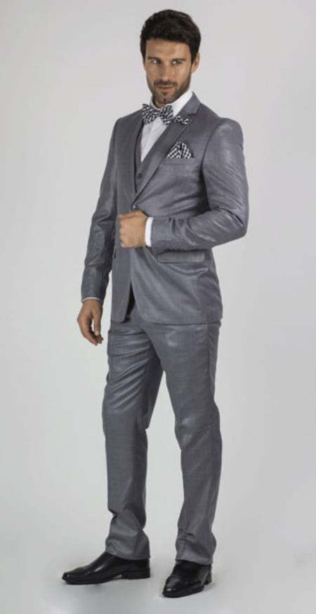 Slim Fit Suit - Fitted Suit Men's Medium Grey 2 Button Sharkskin Shiny Vested 3 Piece Dress Suits for Men