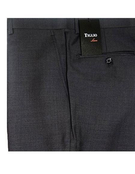 Buy CH1893 Tiglio Mens Medium Grey Modern Fit Flat Front Pants