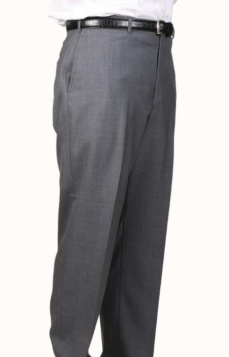 SKU#MC3956 Medium Charcoal Bond Flat Front Trouser