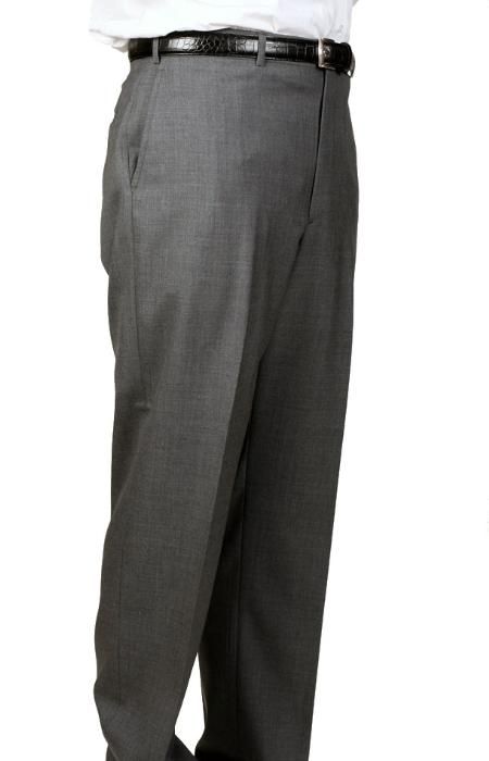 SKU#EN9022 Medium Charcoal, Parker, Pleated Pants Lined Trousers