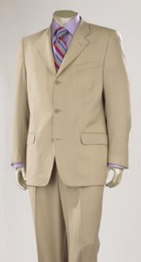 SKU# BQP187 Medium Tan ~ Beige Super 140s Wool 3 Buttons premier quality italian fabric Design  $225