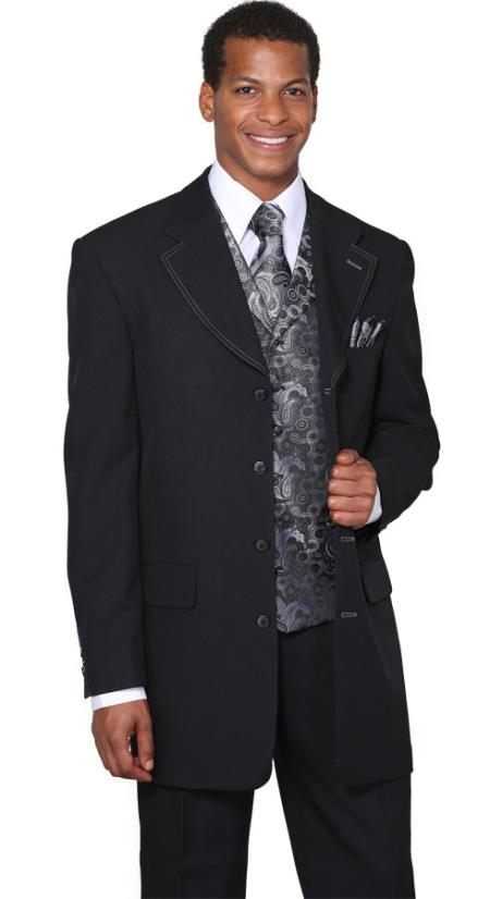 Mens Black Silver Fancy Vest 3 Piece Fashion Suits: discount mens clot