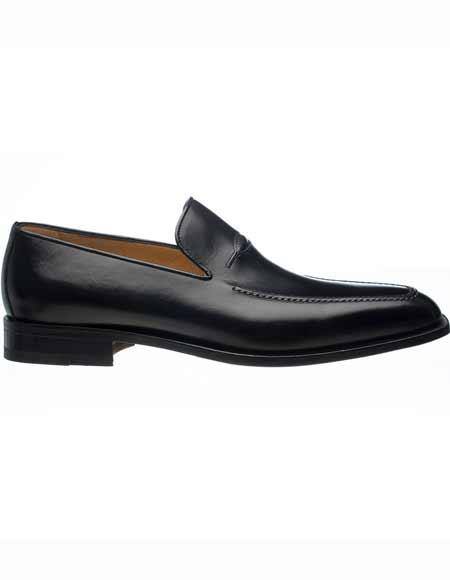 Ferrini Mens Apron Toe Italian Slip On Black French Calfskin Leather Loafers