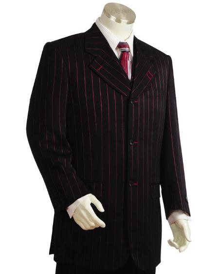 Men's Long suits in Black & Red Pinstripes