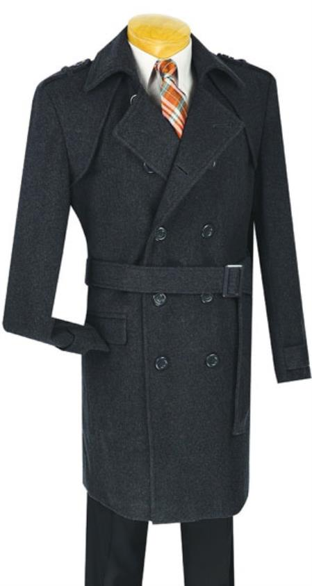 Mens Dress Coat Double breasted overcoat ~ topcoat (Belted optional ) 38 Inch Length Cashmere Blend Winter Peacoat Charcoal