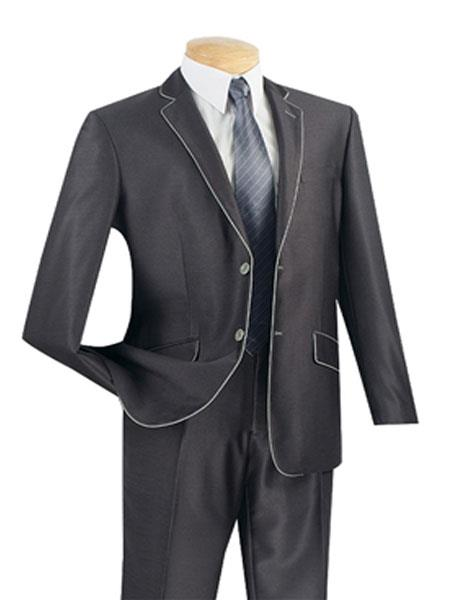 Mens Fashion Slim Fitted 2 Buttons Design Charcoal Suits