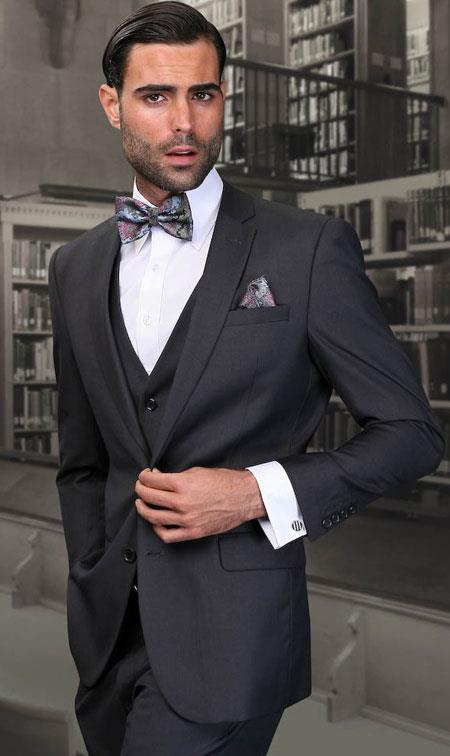 Men's Dark Grey Slim Fit Wool Three Piece Suit