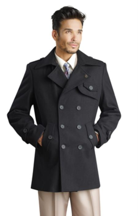 SKU#KA1230 Mens Stylish Overcoat Black